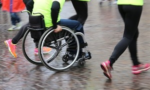 low angle photo of wheelchair